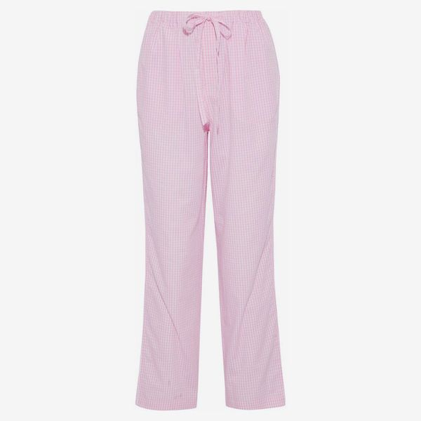 Gingham Cotton-Poplin Pajama Pants - strategist best pink gingham draw string pajama pants