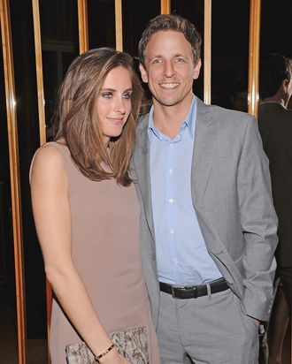 NEW YORK, NY - MARCH 20: Alexi Ashe and Seth Meyers attend the party following a screening of