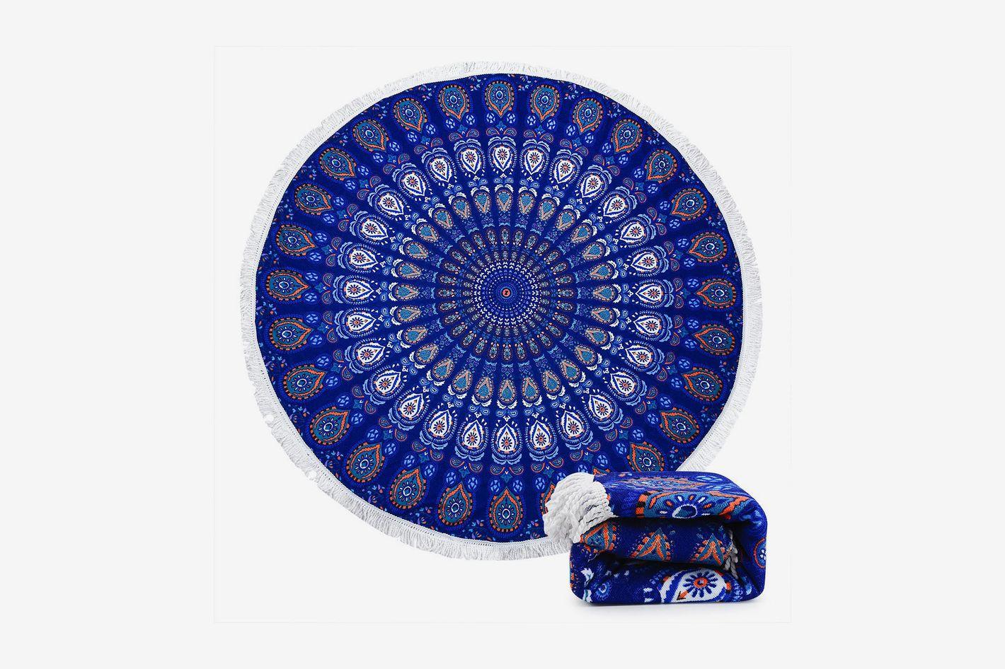Ricdecor Indian Mandala Microfiber Large Round Beach Blanket With Tassels