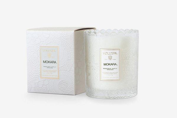 Voluspa Mokara Scalloped-Edge Glass Candle