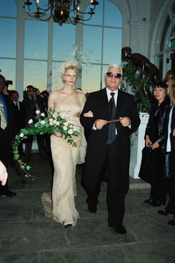 Kristen McMenamy and Karl Lagerfeld at the model's wedding.