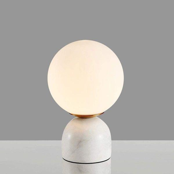 CGC White Round Globe Marble Mini Table Lamp