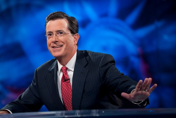 "NEW YORK - SEPTEMBER 8:  Host Stephen Colbert appears during the ""Been There: Won That: The Returnification of the American-Do Troopscapeon"" special of The Co"
