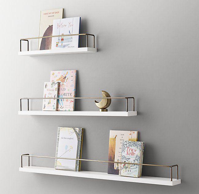 Minimalist Book Display Shelf - Waxed White/Brass