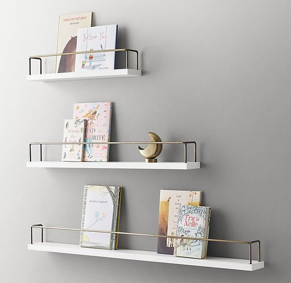 Minimalist Book Display Shelf - Waxed White/Brass