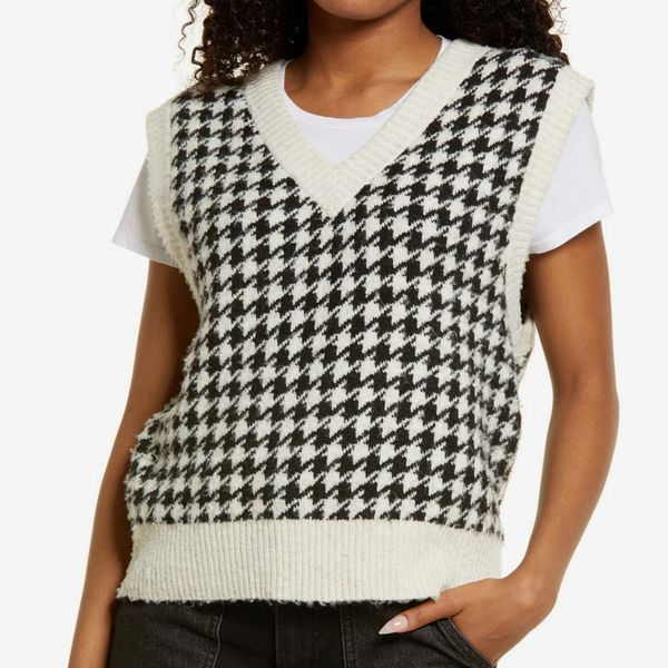 Oversize Houndstooth Recycled Blend Sweater Vest