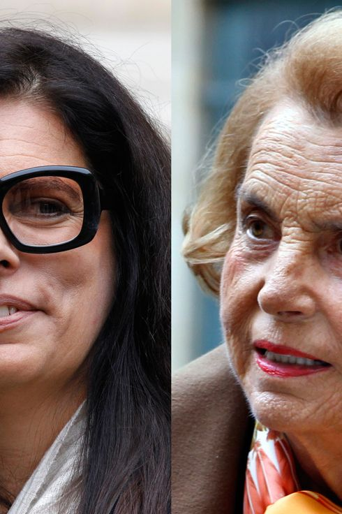 Combo of file pictures made on October 17, 2011 in Paris, shows French Billionaire L'Oreal heiress Liliane Bettencourt (R) and her daughter Francoise Bettencourt-Meyers leaving the Institut de France on October 12, 2011. Liliane Bettencourt, 88, is to be placed under the guardianship of family members, the lawyer of her estranged daughter Francoise Bettencourt-Meyers said on October 17, 2011 after a court hearing. Liliane Bettencourt is suffering from dementia and Alzheimer's disease, French newspaper Le Monde quoted a medical report as saying today ahead of a ruling on her mental state. AFP PHOTO / FRANCOIS GUILLOT (Photo credit should read FRANCOIS GUILLOT/AFP/Getty Images)