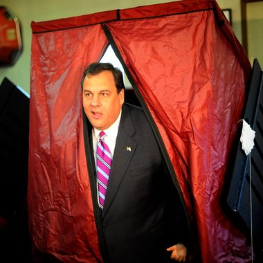 MENDHAM, NJ - NOVEMBER 3: Republican New Jersey Gubernatorial hopeful Chris Christie exits the voting booth after casting his vote, Nov.3, 2009 in Mendham, New Jersey. Christie is challenging incumbent Democrat John Corzine.(Photo by Stephen Chernin/Getty Images)