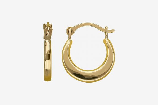 Kids 10K Yellow Gold Plain Round Hoop Earrings