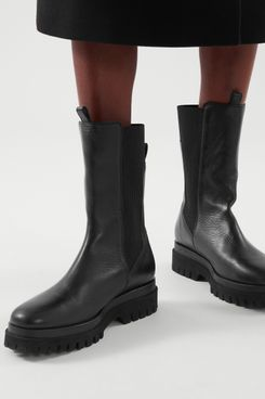 Chunky Leather Chelsea Boots
