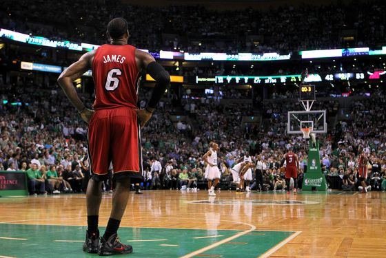 BOSTON, MA - JUNE 07:  LeBron James #6 of the Miami Heat stands on court against the Boston Celtics in Game Six of the Eastern Conference Finals in the 2012 NBA Playoffs on June 7, 2012 at TD Garden in Boston, Massachusetts. NOTE TO USER: User expressly acknowledges and agrees that, by downloading and or using this photograph, User is consenting to the terms and conditions of the Getty Images License Agreement.  (Photo by Jim Rogash/Getty Images)