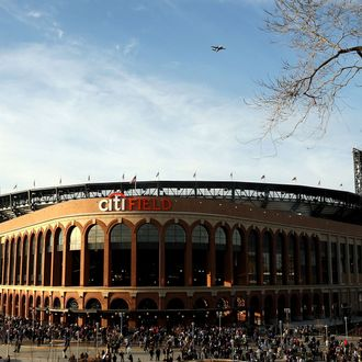 An exterior view of Citi Field before the New York Mets played the San Diego Padres on April 15, 2009 in the Flushing neighborhood of the Queens borough of New York City.