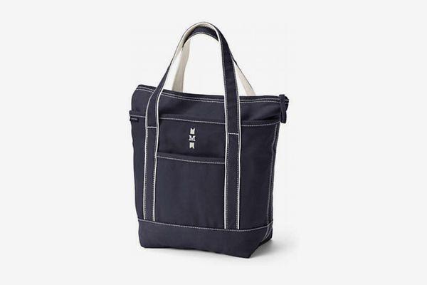 Lands' End Medium Solid-Color Zip-Top Canvas Tote Bag