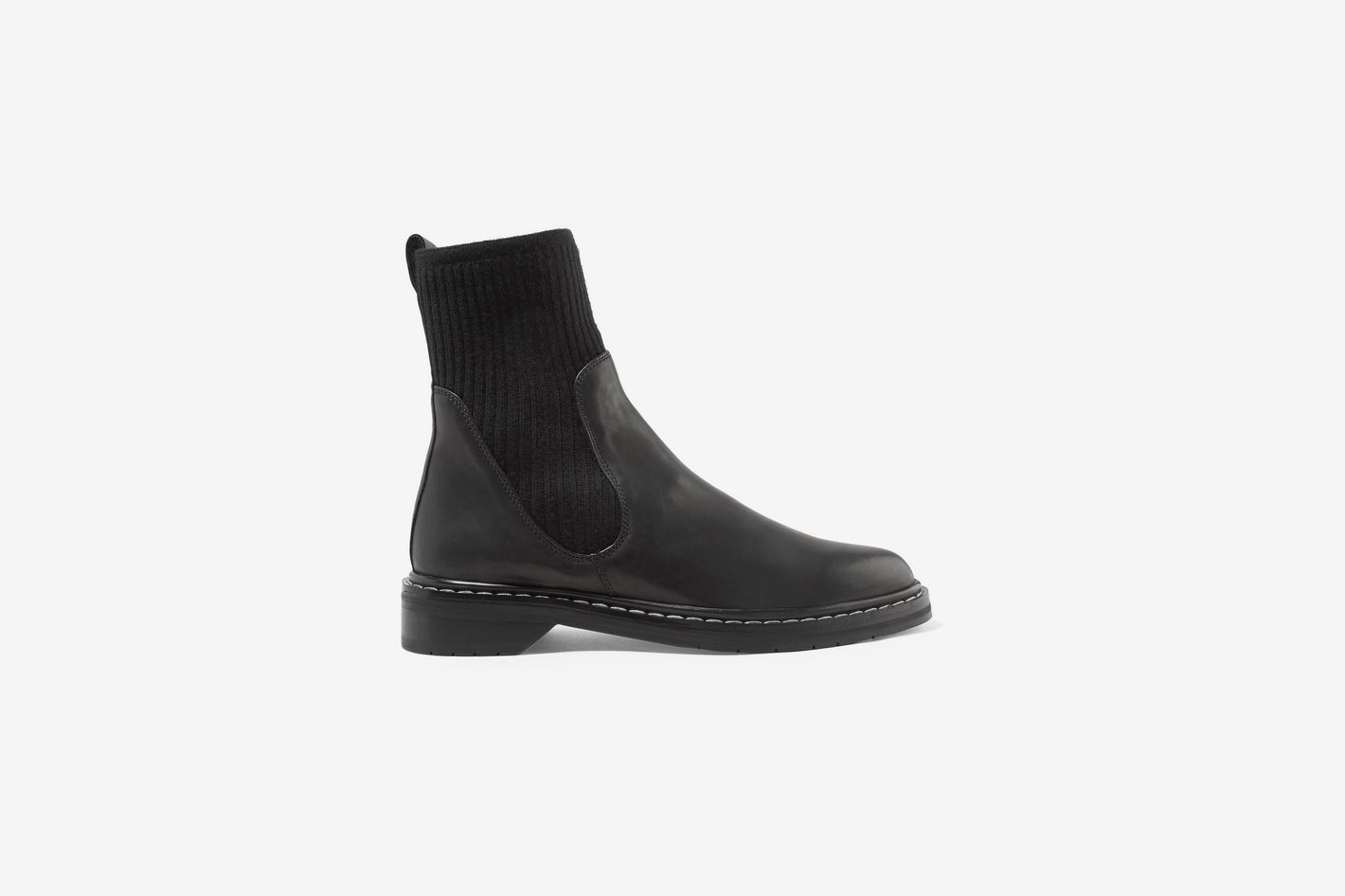 The Row Fara Ribbed Cashmere-Paneled Leather Chelsea Boots