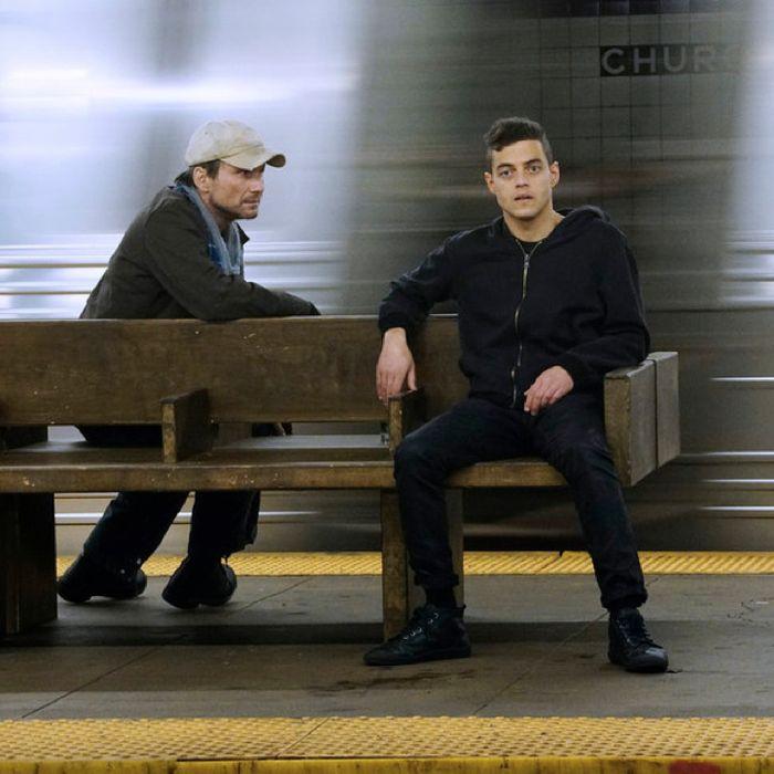 Christian Slater as Mr. Robot, Rami Malek as Elliot.