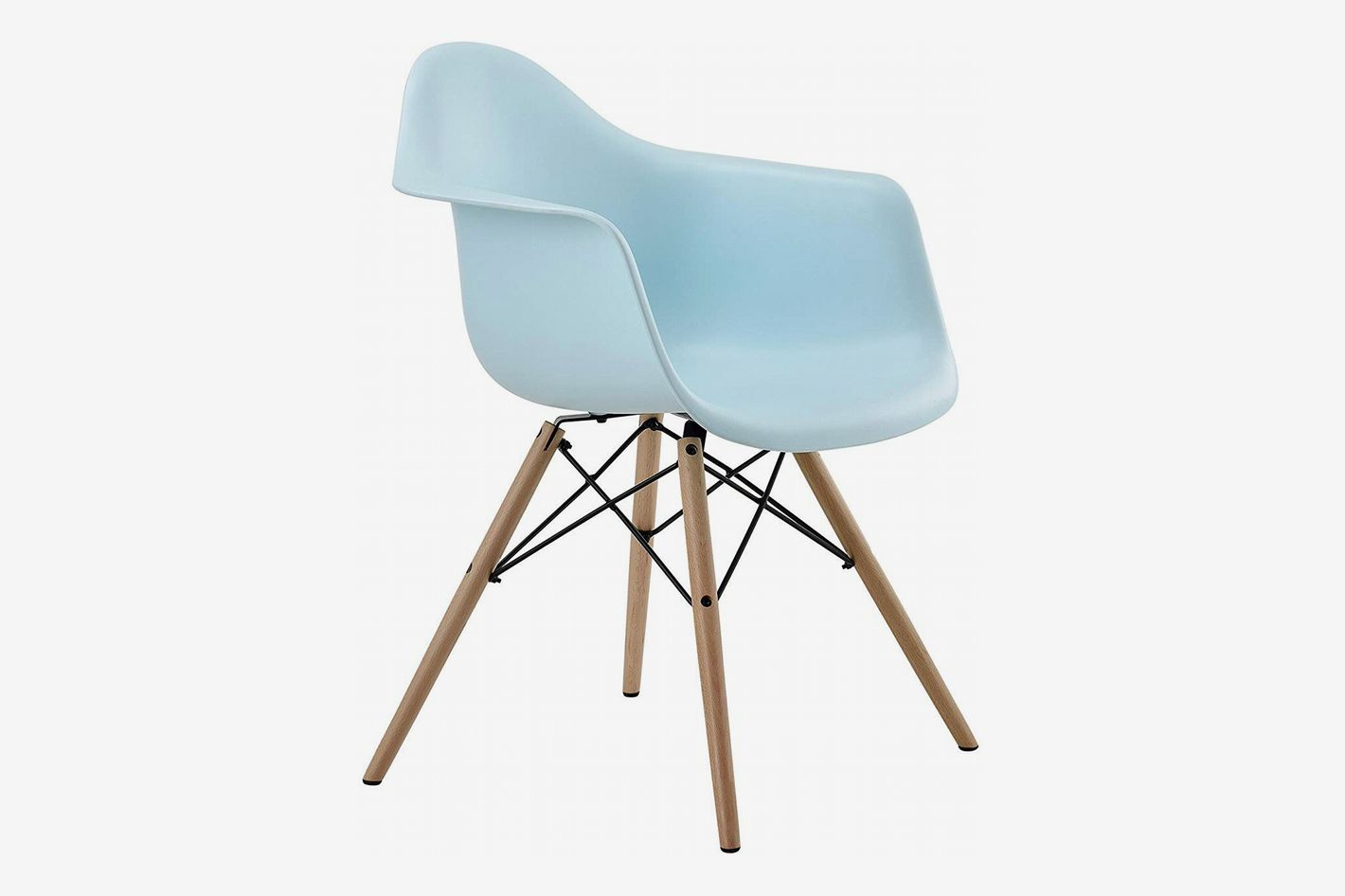 Dhp mid century modern chair with molded arms and wood legs light blue