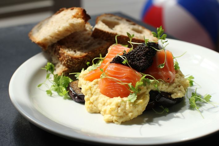 Soft-scrambled eggs with smoked salmon and caviar.