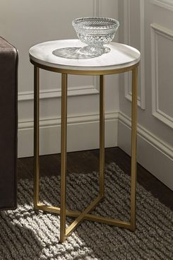 Walker Edison Cora Modern Faux-Marble Round Accent Table