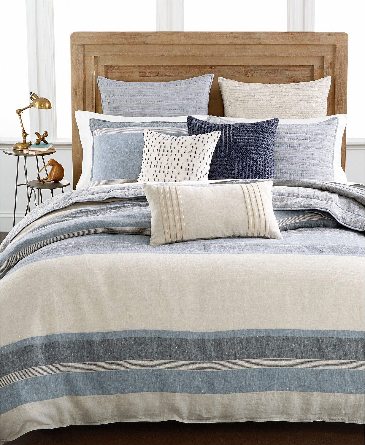 Hotel Collection Linen Stripe Full/Queen Duvet Cover, Created for Macy's