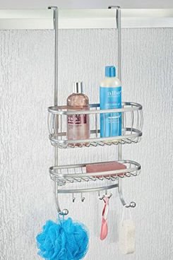 mDesign Over the Door Shower Caddy for Shampoo, Conditioner, Soap — Silver