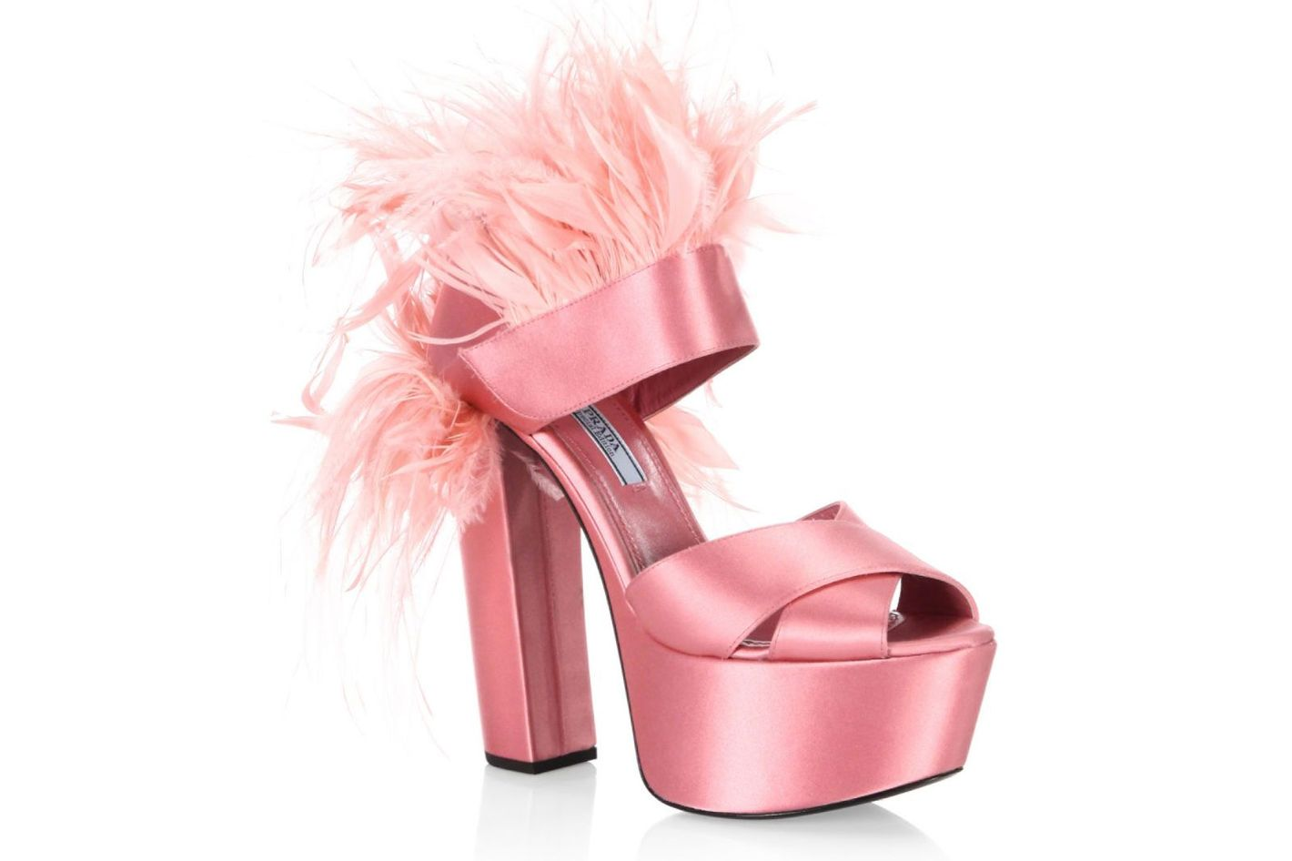 Prada Feather-Trimmed Satin Platform Sandals