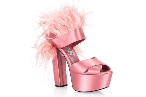 Prada Feather-Trimmed Satin Platform Sandals