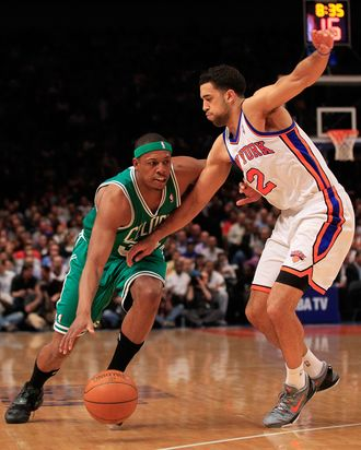 Paul Pierce #34 of the Boston Celtics drives against Landry Fields #2 of the New York Knicks at Madison Square Garden on April 17, 2012 in New York City.
