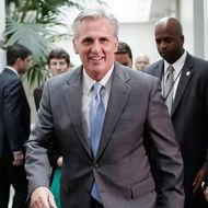 WASHINGTON, DC - JUNE 18:  House Republican Whip, Rep. Kevin McCarthy (R-CA), leaves a meeting of the House Republican conference June 18, 2014 at the U.S. Capitol in Washington, DC. McCarthy is the favorite to be elected to the position of House Majority Leader tomorrow to replace Rep. Eric Cantor (R-VA) who was defeated in primary race last week.  (Photo by Win McNamee/Getty Images)
