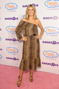"Heidi Klum attends Heidi Klum Unveils her Truly Scrumptious collection at Babies ""R"" Us In NYC at Babies on August 15, 2012 in New York City."