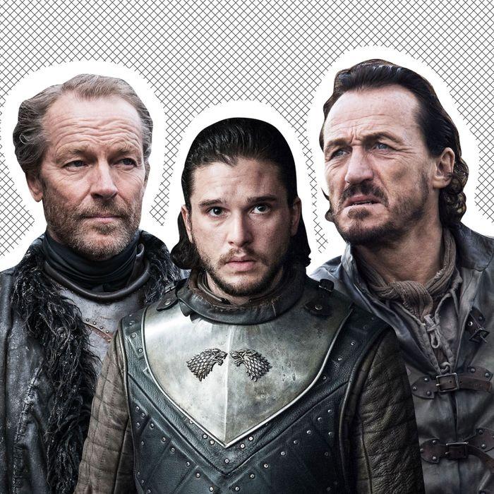 Jorah Mormont, Jon Snow, Bronn.