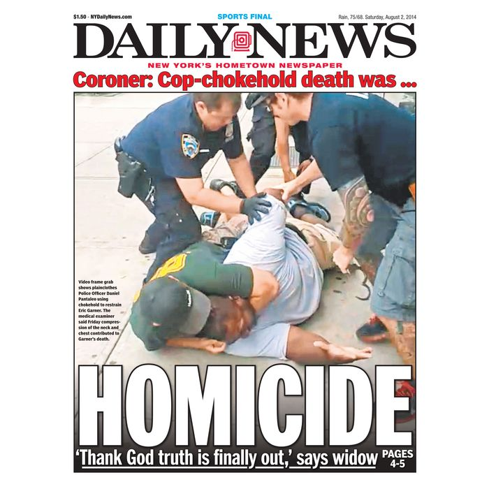 New York Daily News cover page about the 2014 killing of Eric Garner.