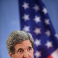 BERLIN, GERMANY - FEBRUARY 26:  U.S. Secretary of State John Kerry and German Foreign Minister Guido Westerelle (not pictured) speak to the media following talks at the Foreign Ministry on February 2, 2013 in Berlin, Germany. Kerry is scheduled to meet with German Chancellor Angela Merkel and Russian Foreign Minister Sergey Lavrov later in the day.  (Photo by Sean Gallup/Getty Images)