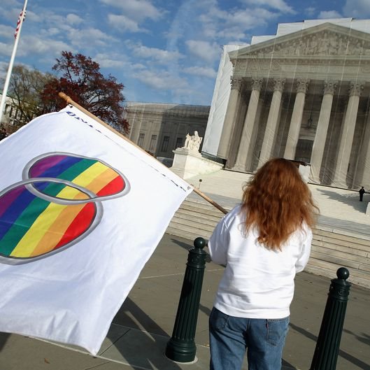 WASHINGTON, DC - NOVEMBER 30:  Same-sex marriage proponent Kat McGuckin of Oaklyn, New Jersey, holds a gay marriage pride flag while standing in front of the Supreme Court November 30, 2012 in Washington, DC. With the Supreme Court building draped in a photo-realistic sheet during a repair and preservation project, the justices met today to consider hearing several cases dealing with the rights of gay couples who are married, want to get married or are in domestic partnerships.  (Photo by Chip Somodevilla/Getty Images)