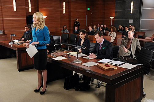 """Long Way Home""--Alicia (Julianna Margulies, seated) and Caitlin (Anna Camp, standing) defend Colin Sweeney (Dylan Baker, center right ) against paternity allegations"