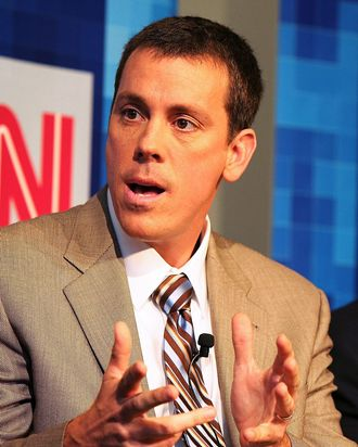 Co-founder of Politico Jim VandeHei and president of CNN/U.S. Jon Klein speak during Time Warner's Political Conference 2008 at the Time Warner Center on October 13, 2008 in New York City.