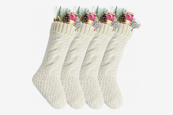 "Kunyida 8"" Unique Ivory White Knit Christmas Stockings — 4-Pack"