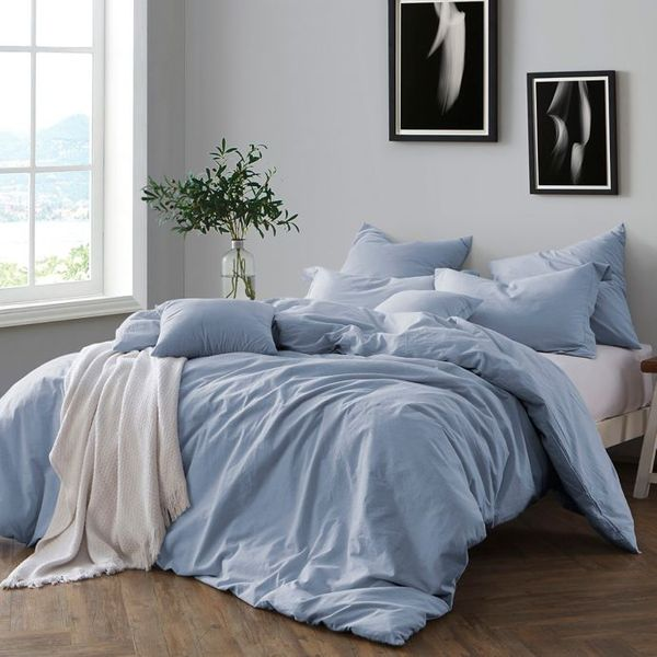 Swift Home Prewashed Yarn-Dyed Cotton Duvet Cover Set in Chambray