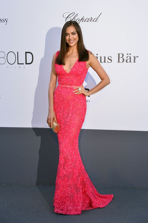 Russian model Irina Shayk poses on May 23, 2013 as she arrives for the amfAR's 20th Annual Cinema Against AIDS during the 66th Annual Cannes Film Festival at Hotel du Cap-Eden-Roc in Cap d'Antibes, southern France.
