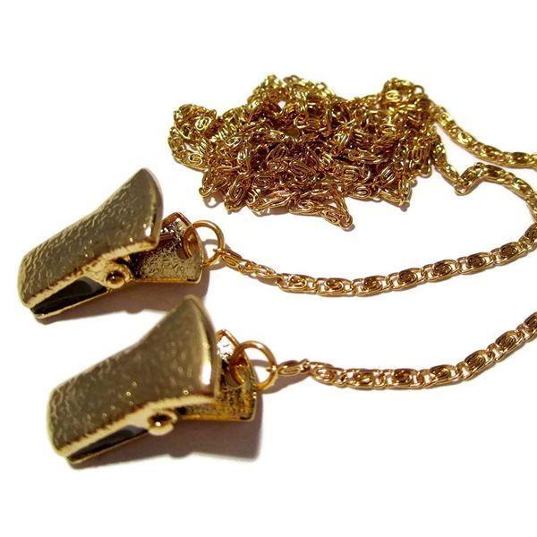 ATLanyards Small Gold Alligator Clip Glasses Chain