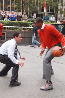 "NEW YORK, NY - OCTOBER 12:  (L-R) Fox & Friends host Brian Kilmeade plays a basketball game with NBA player Amar'e Stoudemire of the New York Knicks during a taping of ""FOX & Friends"" at FOX Studios on October 12, 2011 in New York City.  (Photo by Astrid Stawiarz/Getty Images)"