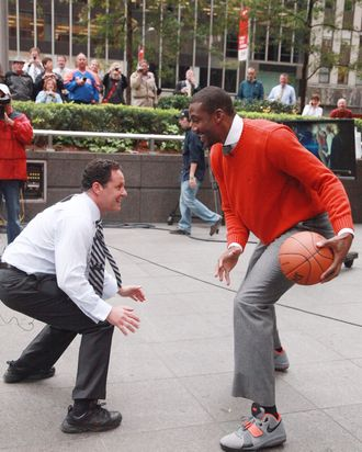 NEW YORK, NY - OCTOBER 12: (L-R) Fox & Friends host Brian Kilmeade plays a basketball game with NBA player Amar'e Stoudemire of the New York Knicks during a taping of