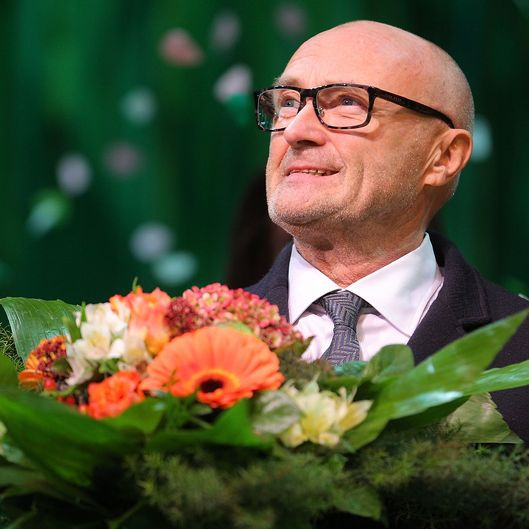 STUTTGART, GERMANY - NOVEMBER 21:  Phil Collins is seen on the stage after the Stuttgart Premiere of the musical 'Tarzan'  at Stage Apollo Theater on November 21, 2013 in Stuttgart, Germany.  (Photo by Thomas Niedermueller/Getty Images)