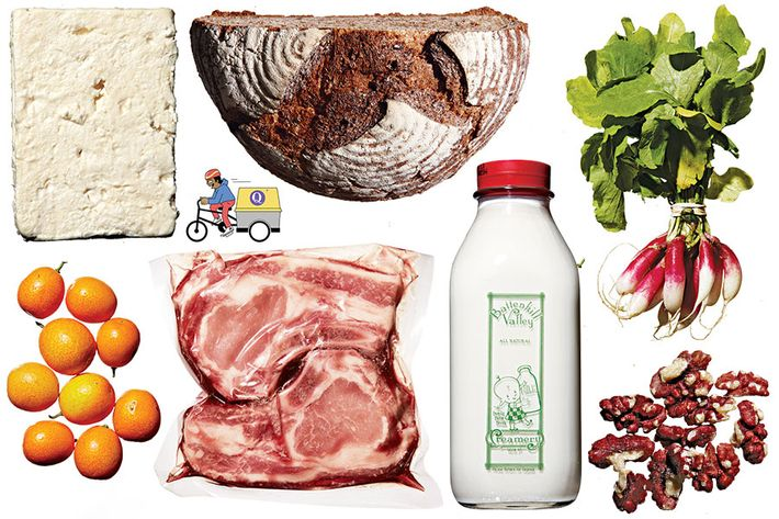 Clockwise, from top left: Narragansett Creamery feta; Orwasher's Ultimate Whole Wheat; French breakfast radishes; Yolo Red walnuts; Award-winning local milk; Berkshire-pork chops from Pine Plains, New York; California kumquats.