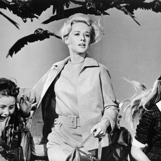 1963, American actor Tippi Hedren and a group of children run away from the attacking crows in a still from the film 'The Birds' directed by Alfred Hitchcock. (Photo by Universal Studios/Getty Images)