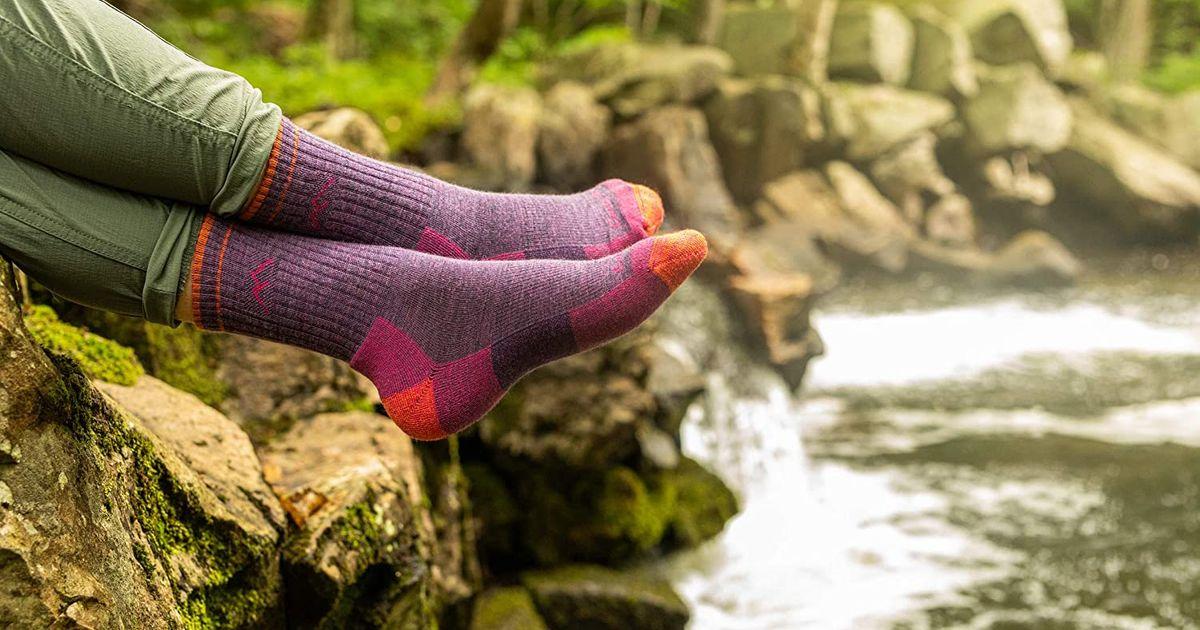 SmartWool Kids Gray /& Red Hike Hiking Socks Merino Wool  LARGE Light Cushion