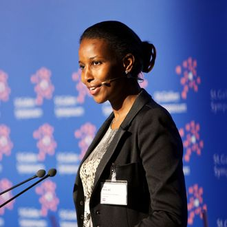 Ayaan Hirsi Ali, founder of AHA Foundation, speaks during the St. Gallen symposium in St. Gallen, Switzerland, on Thursday, May 12, 2011. UBS AG Chief Executive Officer Oswald Gruebel said stricter capital requirements for banks and fiscal austerity will hurt economic growth in developed economies in the next 10 years. Photographer: Gianluca Colla/Bloomberg via Getty Images
