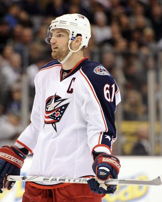 Rick Nash #61 of the Columbus Blue Jackets waits for a faceoff during the game against the Los Angeles Kings at Staples Center on February 1, 2012 in Los Angeles, California.
