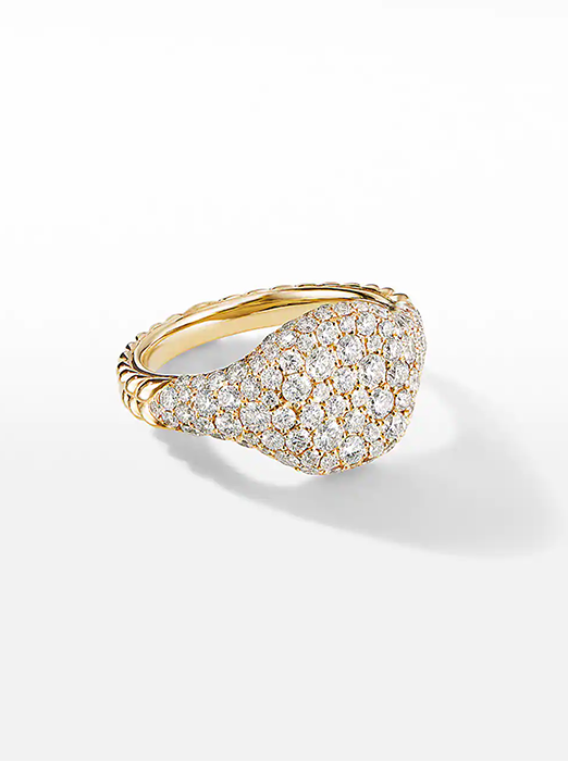 Mini Chevron Pinky Ring in 18K Yellow Gold with Pavé Diamonds