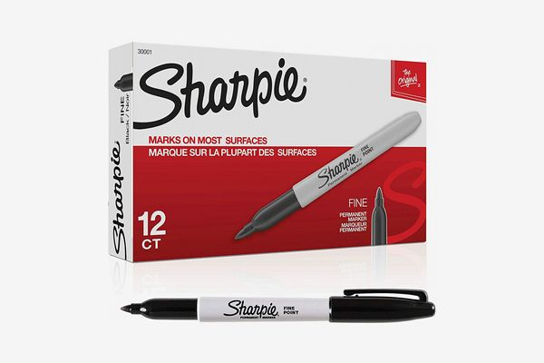 Sharpie Permanent Markers, Black, Box of 12