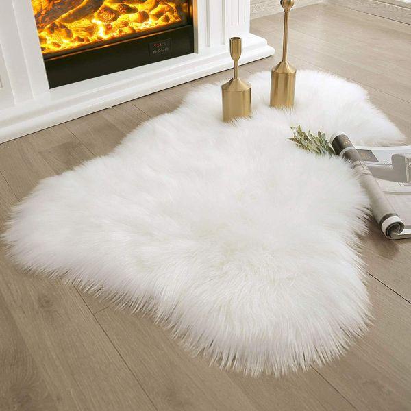 Ashler Ultra Soft Faux Sheepskin Fur Rug White Fluffy Area Rug
